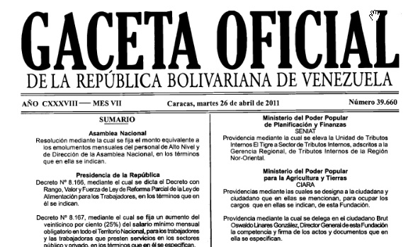 Observaciones al nuevo decreto de SALARIO MINIMO NACIONAL en Venezuela
