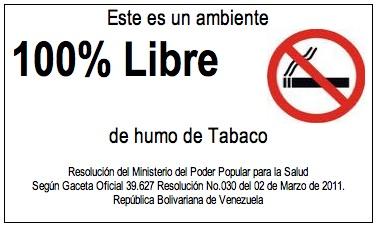 Resolución No.030 para Ambientes Libres de Humo de Tabaco (Venezuela).