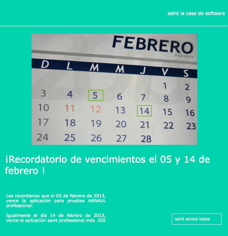 Recordatorio de vencimientos el 05 y 14 de febrero