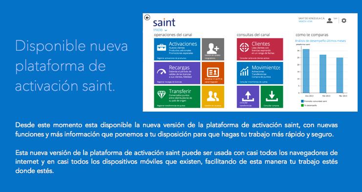 Desde este momento esta disponible la nueva versión de la plataforma de activación saint