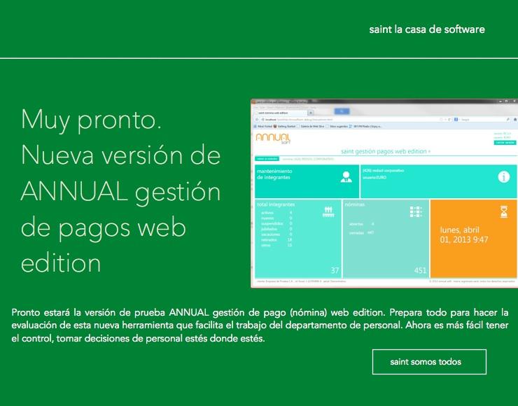 Pronto estará disponible la versión de prueba ANNUAL gestión de pago (nómina) web edition.