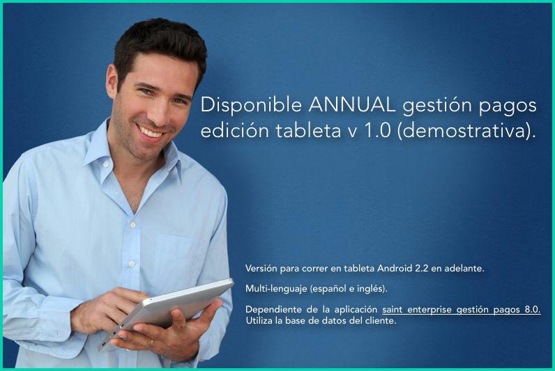 Disponible ANNUAL gestión pagos edición tableta v 1.0 (demostrativa).