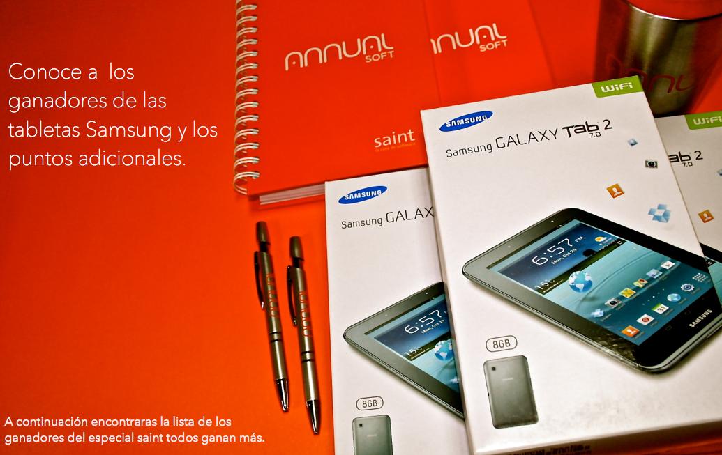 Conoce a los ganadores de las tabletas Samsung y los puntos adicionales