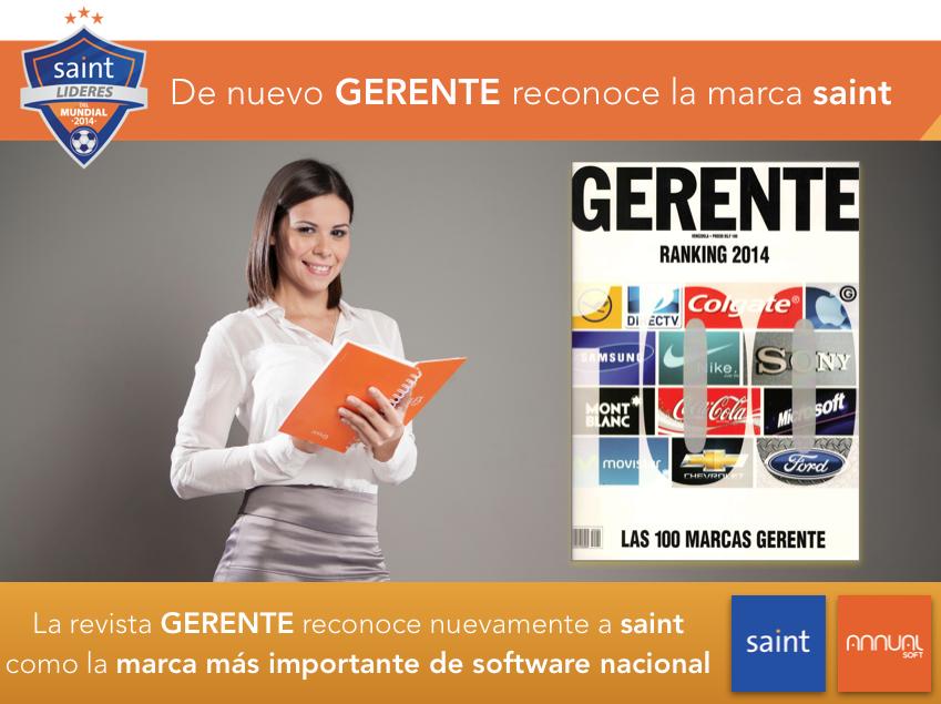 La revista GERENTE reconoce nuevamente a saint como la marca más importante de software nacional
