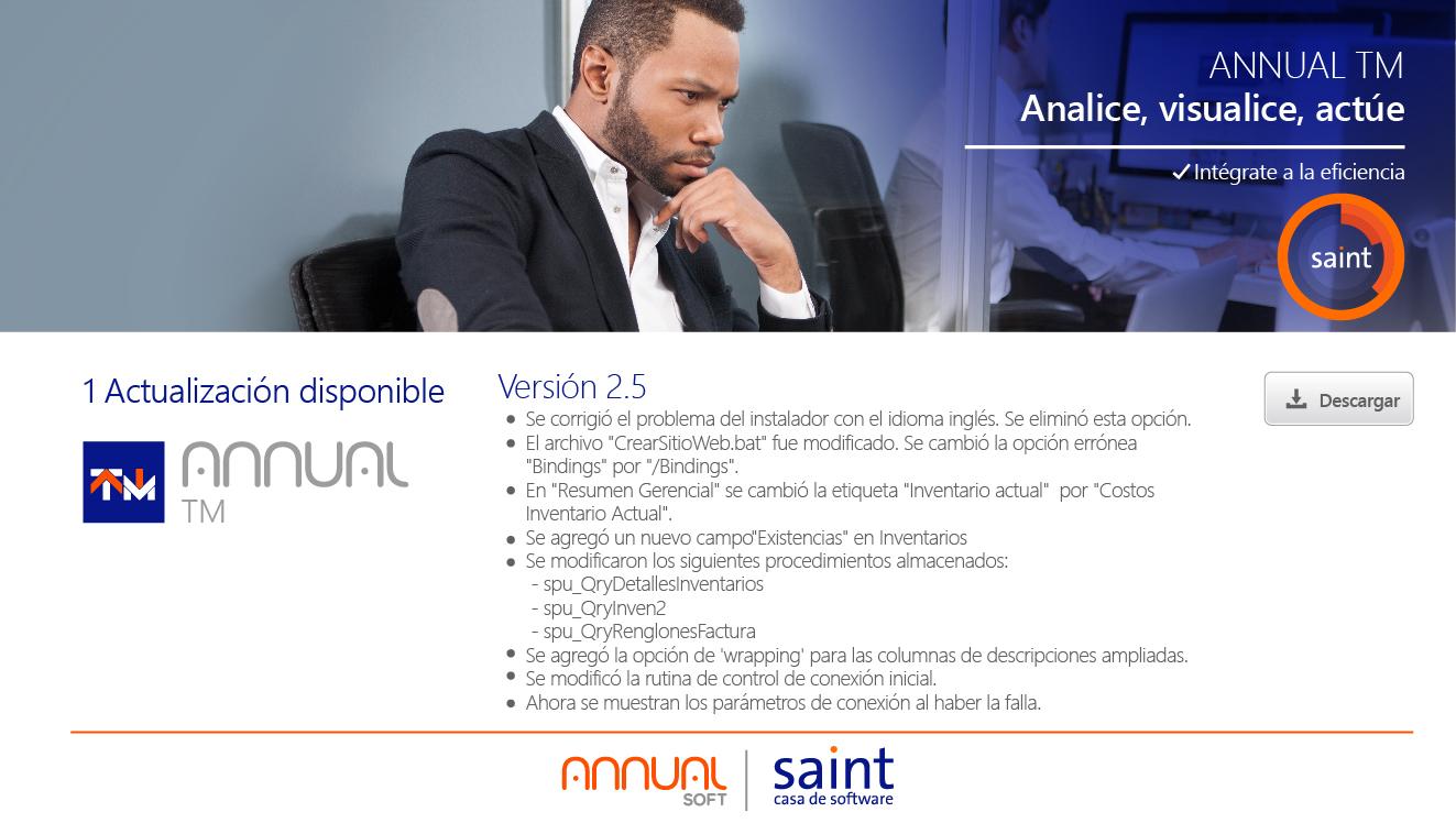 Disponible nueva versión 2.5 de ANNUAL Tablero de Mando (TM).