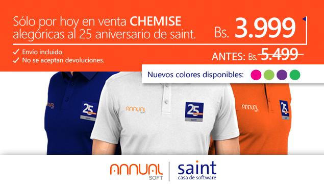 Venezuela: sólo por hoy…!  CHEMISE alegóricas al 25 aniversario de saint a 3.999 Bs.