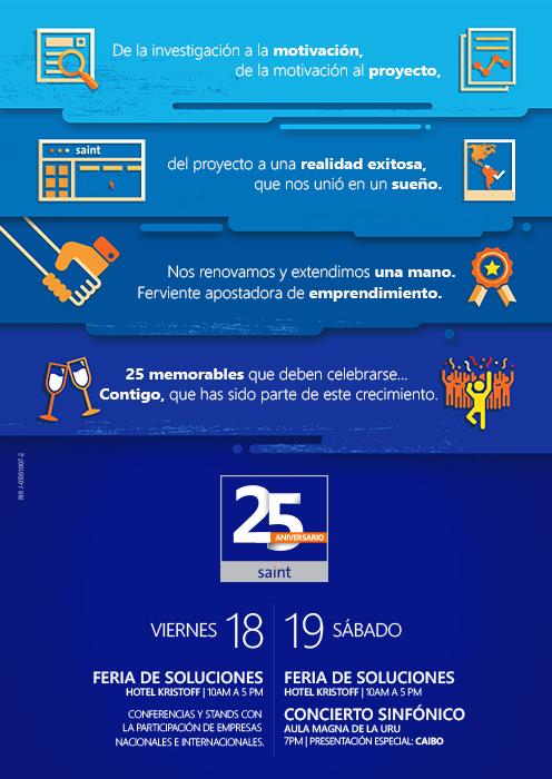 Agenda de actividades o de trabajo del 25 aniversario saint para el 18 y 19 de septiembre.