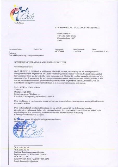 SBAB autoriza la distribución y venta de Saint Annual Enterprise en Curaçao.