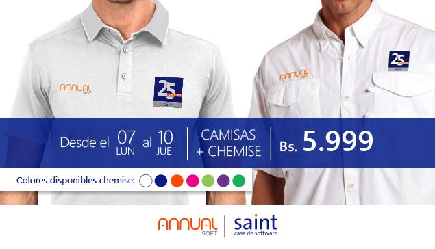 CHEMISE más Camisa alegóricas al 25 aniversario de saint a 5.999 Bs.
