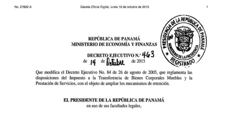 Panamá: las aplicaciones saint cumplen con el DECRETO EJECUTIVO 463 del 14 de octubre del 2015.