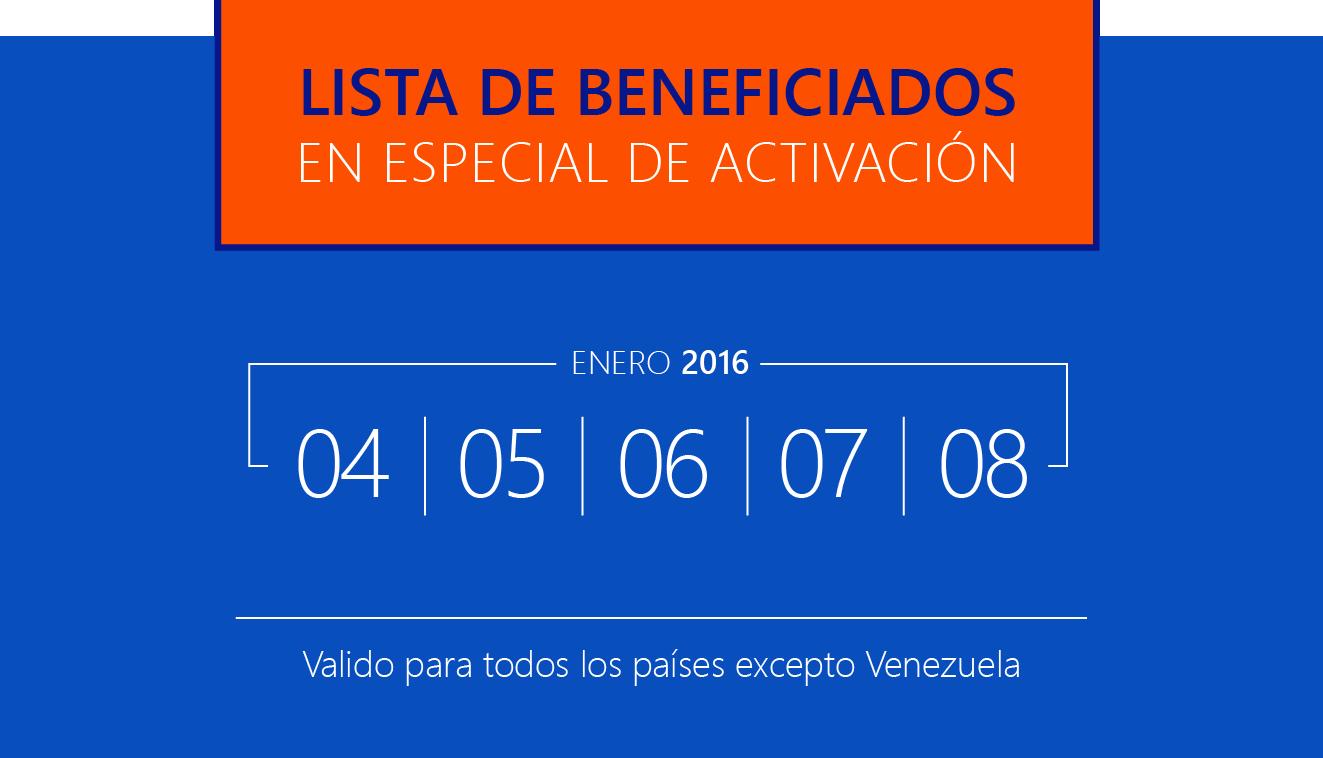 Lista de beneficiados especial de ACTIVACIÓN. Primera SEMANA 2016…! Para que ganes más.