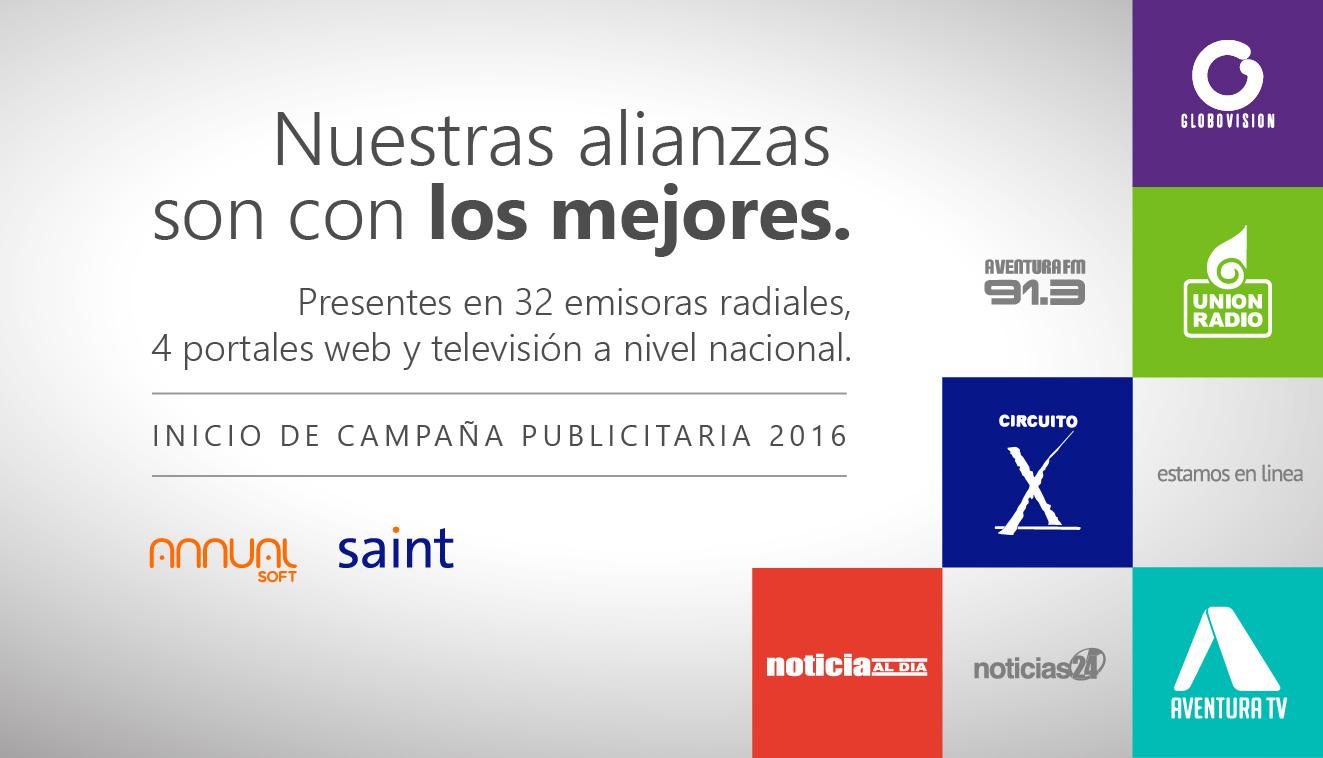 Nuestras alianzas son con los MEJORES. Inicio de nueva campaña publicitaria 2016.