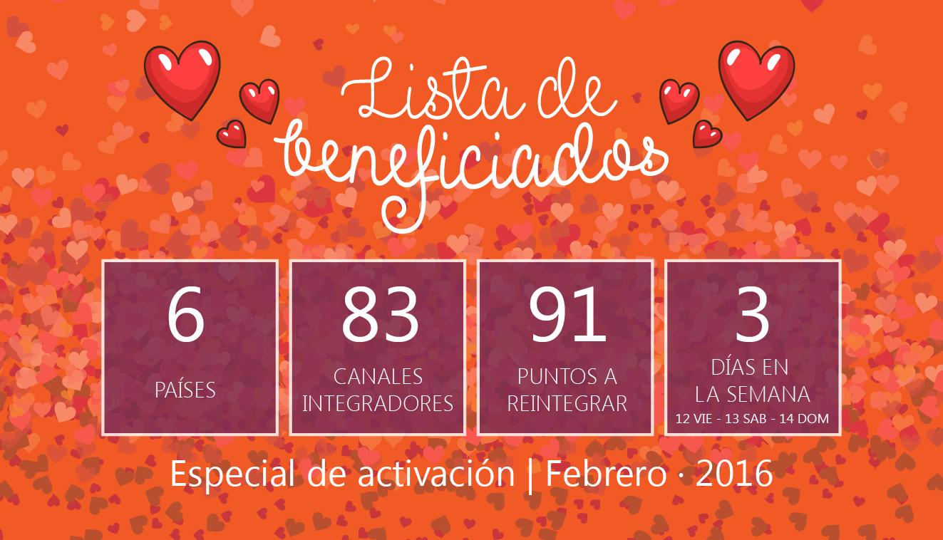 Beneficiados del especial de activaciones. San Valentín 2016.