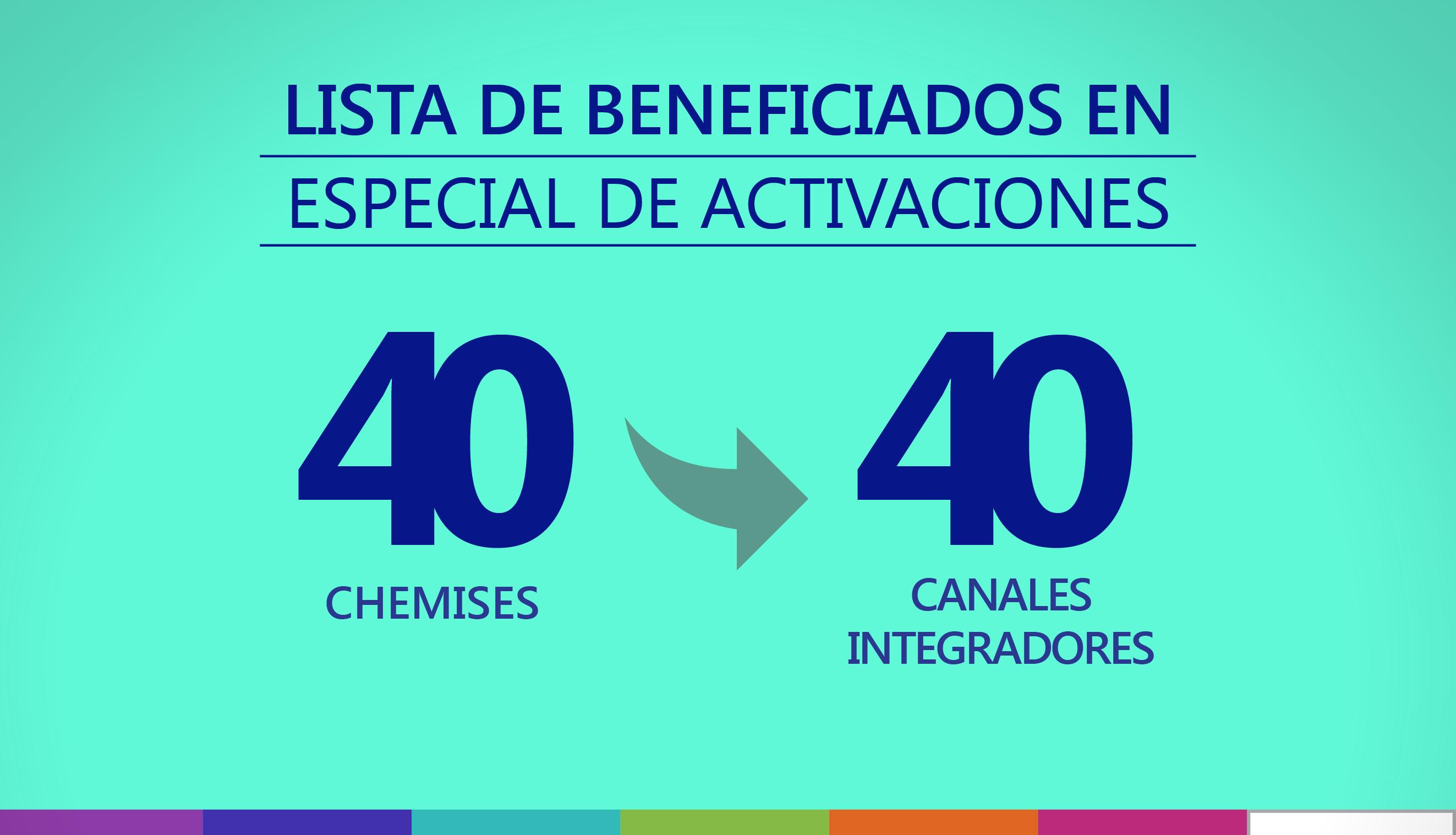 """Beneficiados del especial de activaciones """"40 chemises para 40 canales integradores"""""""