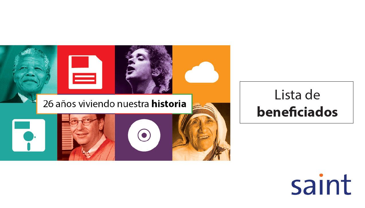 """Lista de beneficiados del especial de activaciones """"26 años viviendo nuestra historia"""""""