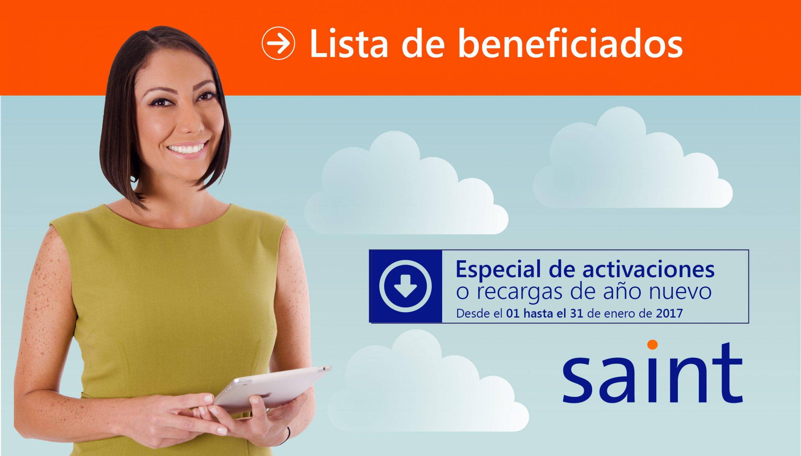 Lista de beneficiados del especial de activaciones «FELIZ AÑO 2017»
