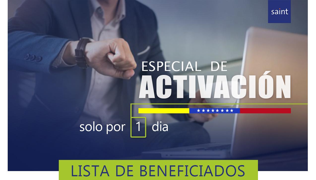"""Lista de Beneficiados Especial de ACTIVACIÓN """"Solo por un día"""""""