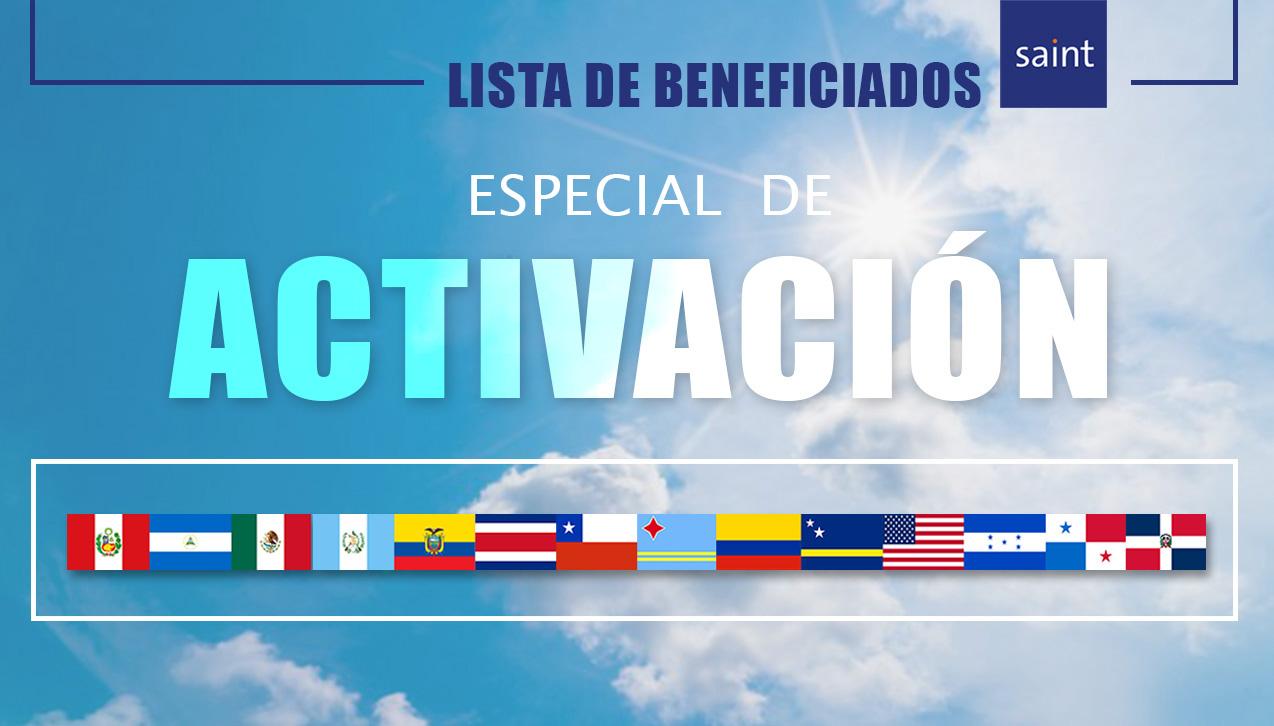 """Lista de Beneficiados Especial de ACTIVACIÓN """"Vacaciones de Agosto 2017"""""""