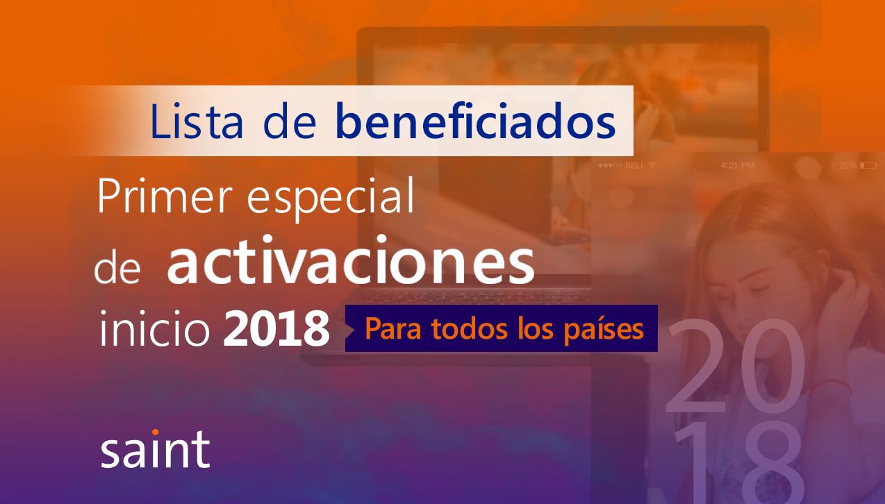 """Lista de beneficiados del primer especial de ACTIVACIONES 2018 """"te devolvemos UN punto"""""""