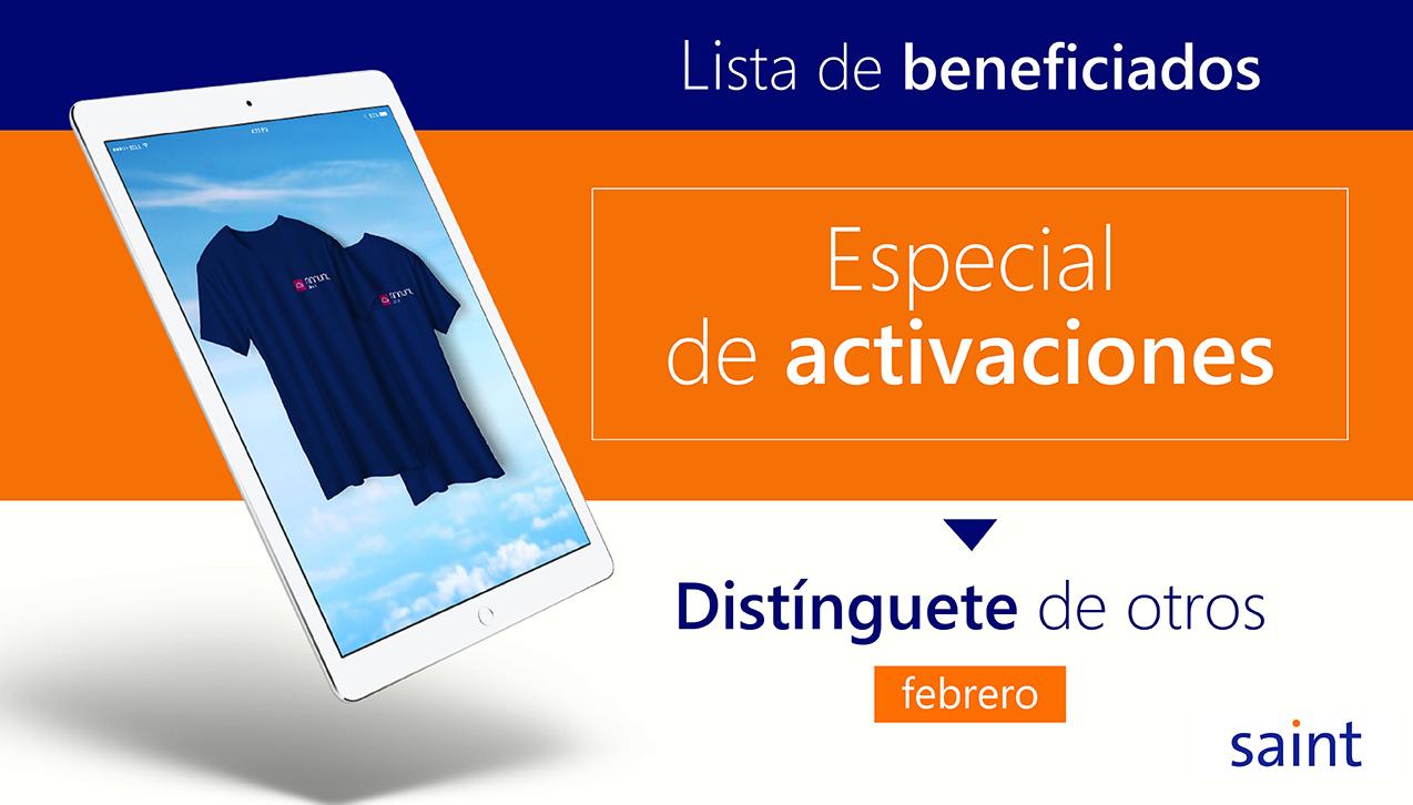 Lista de beneficiados del Especial de activaciones. Distínguete de otros