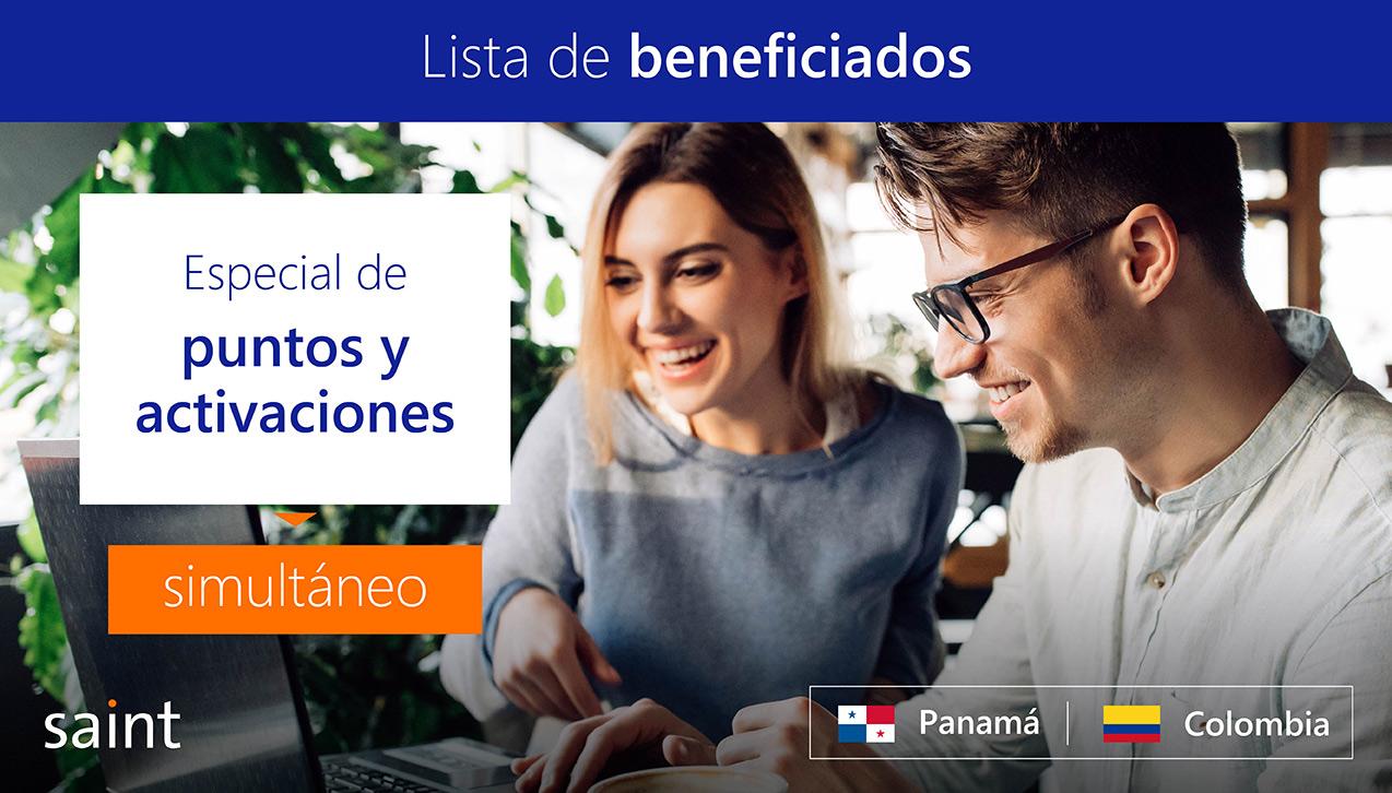 Lista de beneficiados del especial de ACTIVACIONES simultáneo, Colombia y Panamá