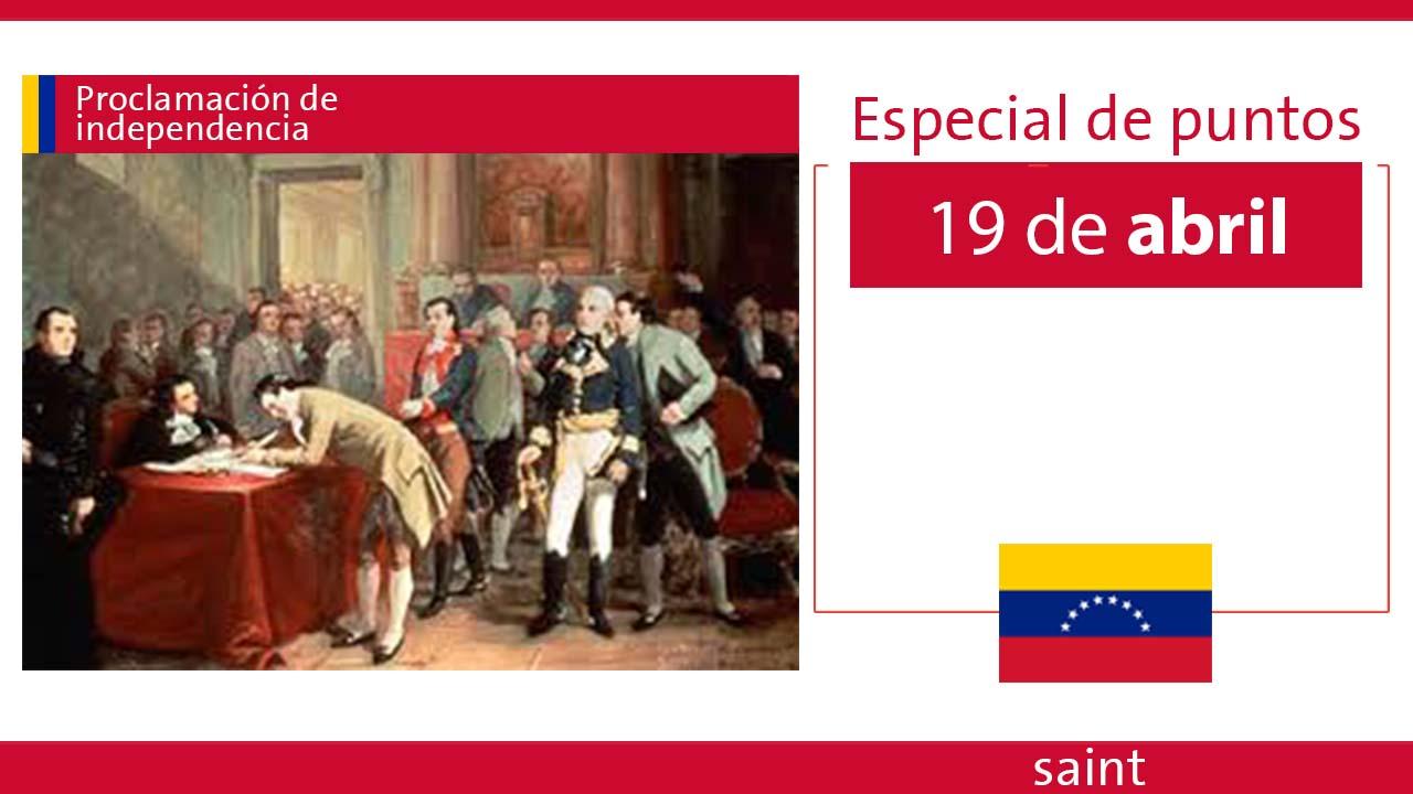 Especial de puntos Proclamación de independencia Venezuela