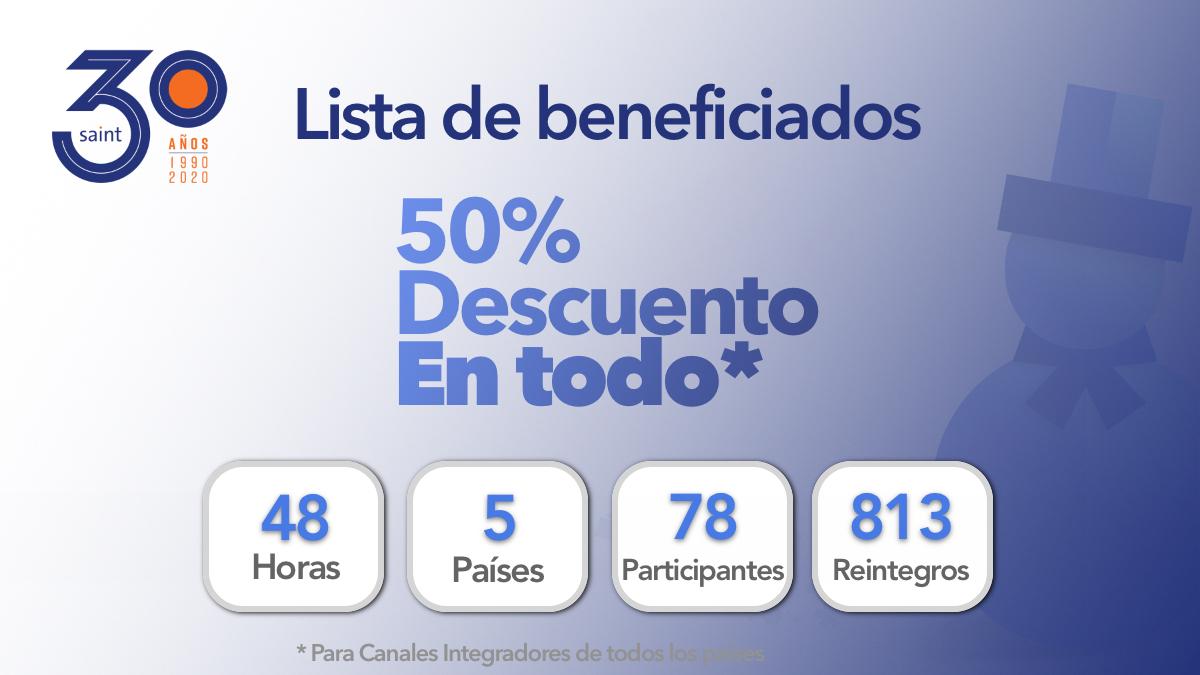 Beneficiados del especial 50% de descuento en TODO