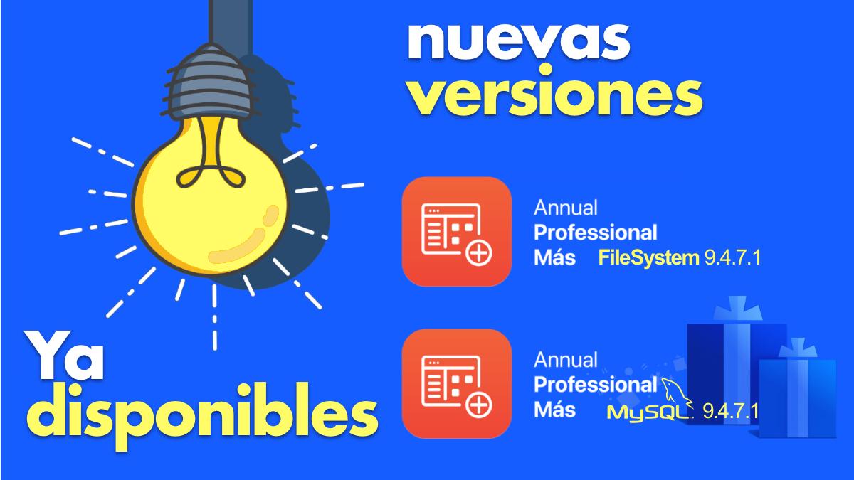 Nuevas versiones de Annual professional +