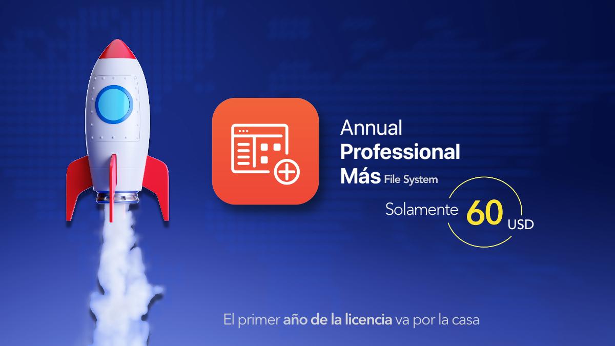 Annual professional + FileSystem el primer año va por la casa